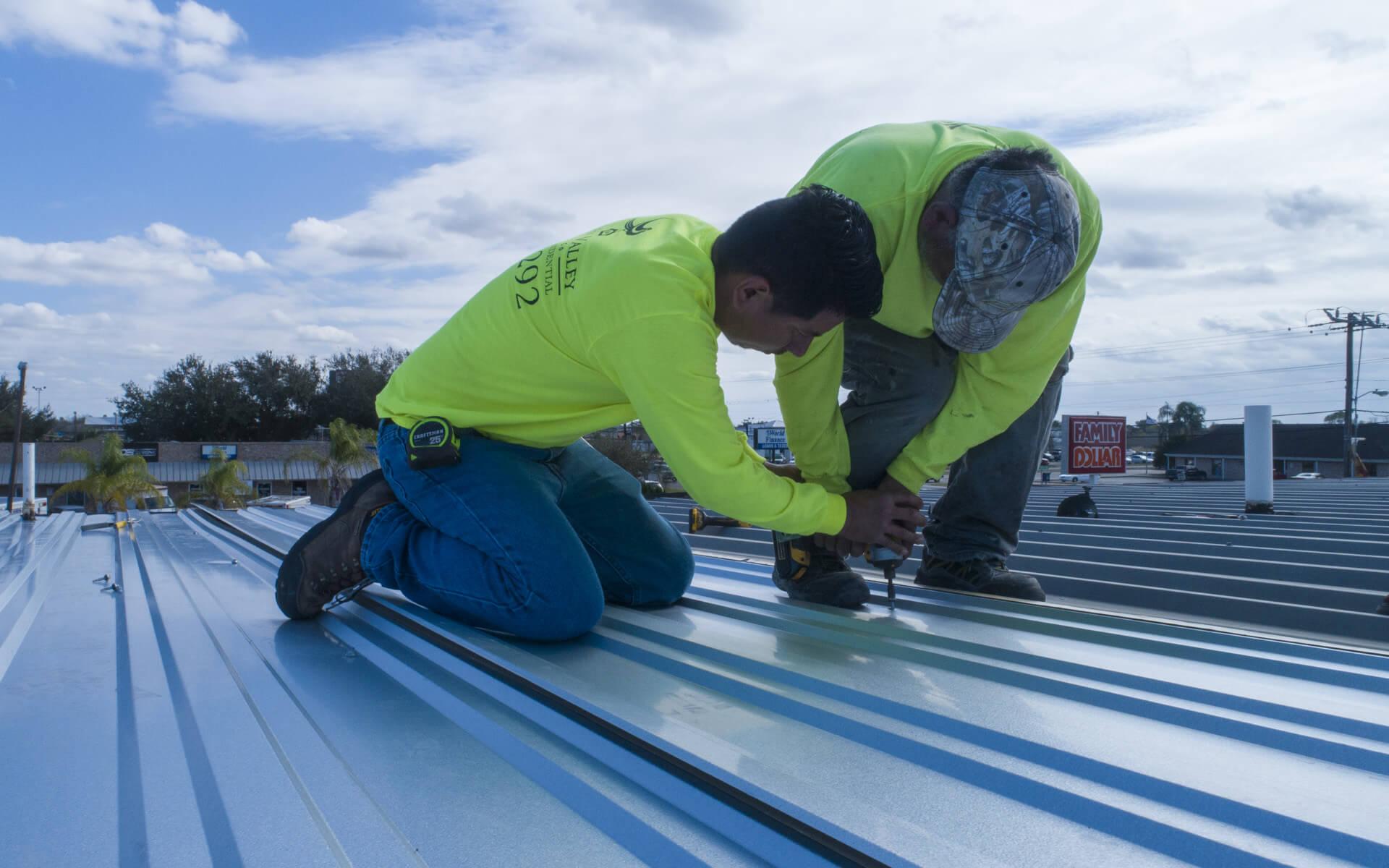 McAllen Valley Roofing installation of commercial metal roof in San Antonio Texas