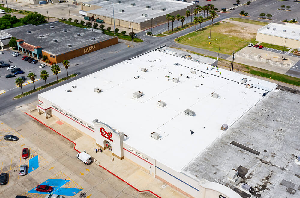 Commercial TPO roof membrane installation by McAllen Valley Roofing - San Antonio, TX - 001